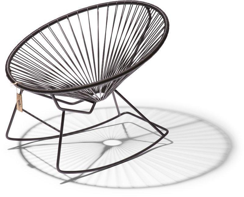 Condesa schommelstoel zwart schuin