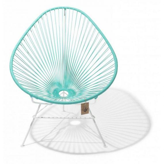 Acapulco chair turquoise light, white frame 1