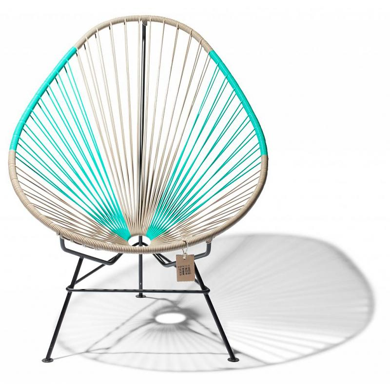 Bicolor Acapulco chair beige & turquoise 1