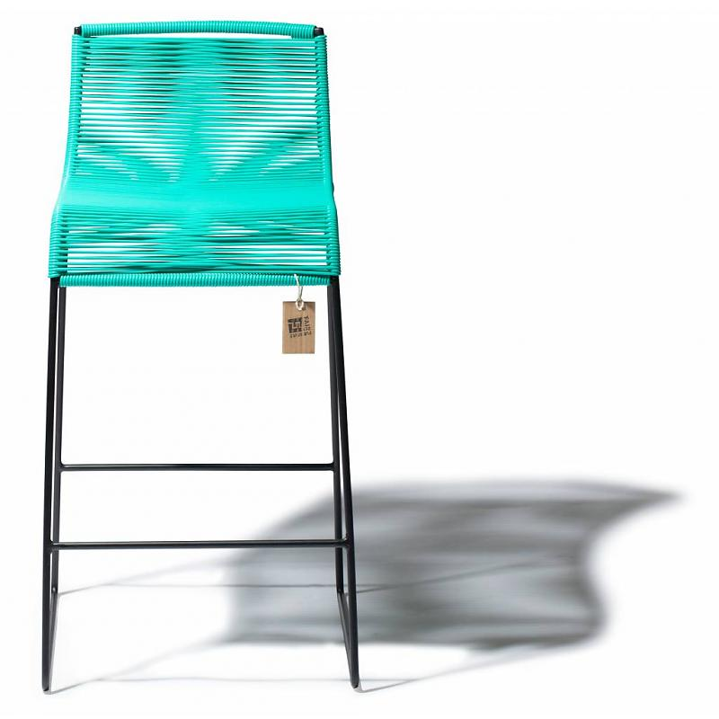 stylish bar stool with comfortable seat in flexible turquoise cords