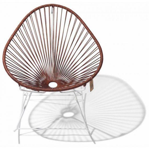 Acapulco schommelstoel leder, wit frame 2