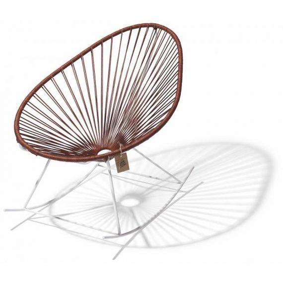 Acapulco schommelstoel leder, wit frame 1