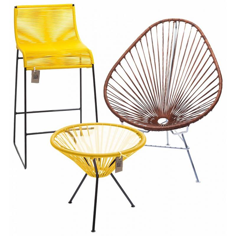 Yellow side table Fair Furniture with chairs