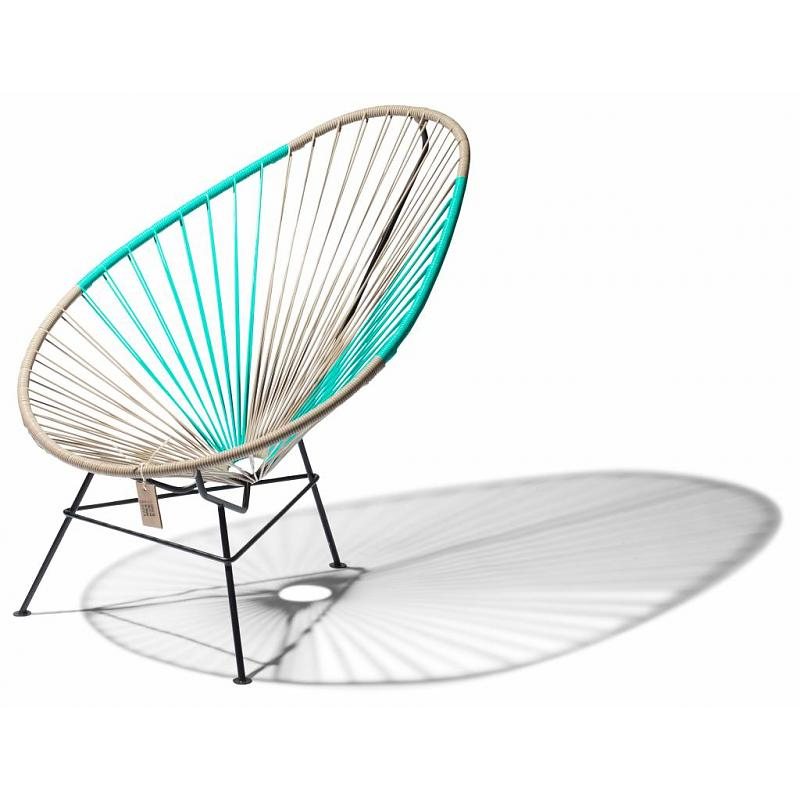 Bicolor Acapulco chair beige & turquoise 3