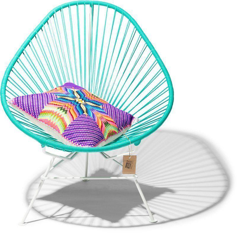 Acapulco white frame turquoise cushion