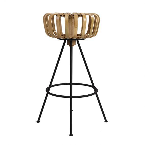 Side view bamboo barstool