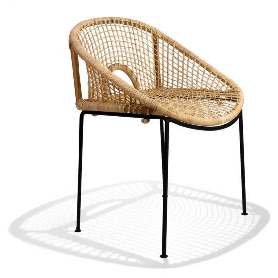 Ubud dining chair, diagonal view